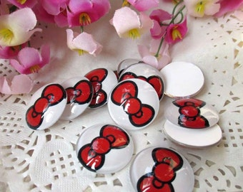 12pc 25mm Bow Photo Glass Cabochons flatback For DIY Jewelry Making Accessories