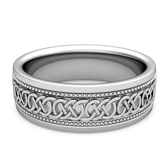 Milgrain Wedding Ring In Platinum 7mm: 7mm Milgrain Celtic Knot Wedding Band In 14k White Gold