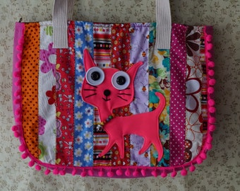 Pom pom Bag, Pink Cat Summer Bag, Fabric quilted bag, Meow Embroidered handbags, Bohemian bags, Cat tote bag, School bag