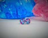 Round Turquoise and Purple Dichroic Studs