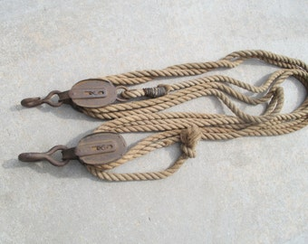 Antique Dual/ Triple Block and Tackle with 30 Foot of Original Sisal Rope
