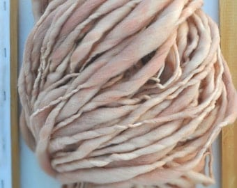 "Yarn Bulky Reddish Tan Handspun ""Neutral Ground"" Thick n Thin Hand Dyed Merino Knitting Supplies Crochet Supplies Soft Wool Yospun"