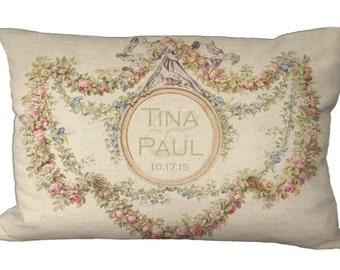Lumbar Antique Floral Frame Custom Couples Names or Monogram Oblong in Choice of 18x12 20x13 24x16 Inch Pillow Cover