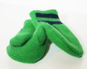 Recycled wool sweater mittens bright green with stripes