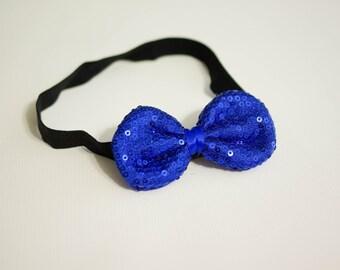 BABY HEADBAND, newborn headband, headband, Bow Headband, Royal Blue Headband, Large Sparkle Bow, Photography Prop