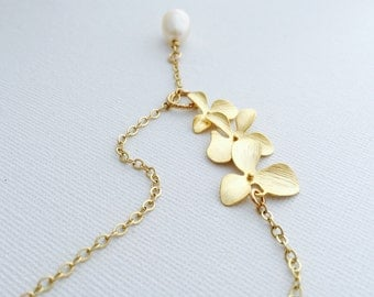NEW// Handmade Gold Orchid Lariat Necklace, Freshwater Pearl Drop, 14K Gold Filled Chain, Y-Necklace