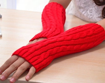 Red knit arm warmers fingerless gloves