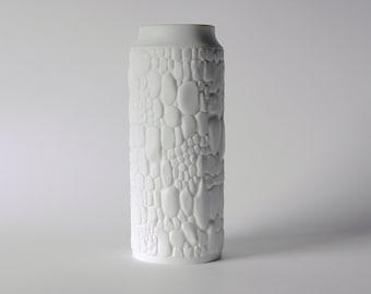Mid-Century German White Bisque Porcelain Vase - Cobblestone Motif Kaiser 60s