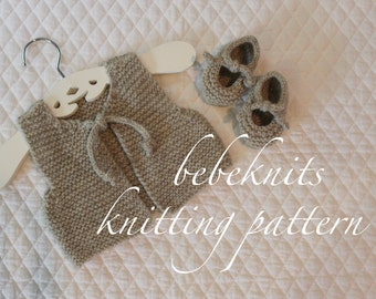 Bebeknits French Style Knot Tied Baby Vest and Booties Knitting Pattern