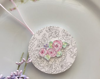 Tassel, 3D, Round, Decoration, Ornament, Cottage Garden, Roses, Cabbage Roses, Art, Original illustrations, Hand Painted, Watercolors