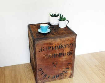 Vintage Tea Chest, Shipping Crate, Side Table,  Coffee table, Bedside Table
