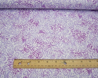 Jewels Of The Sea Whimsical Water Swirls Lilac premium cotton fabric from Quilting Treasures - fish