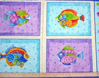 Jewels Of The Sea Whimsical Fish 24x44 panel premium cotton fabric from Quilting Treasures - fish