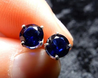 Sapphires in sterling silver ear studs or posts