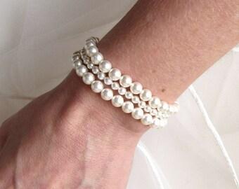 3 Strand Pearl Bracelet, WHITE or IVORY Pearl, Pearl Cuff Bracelet, Multi Strand Pearl Bracelet, Vintage Style Jewelry, Wedding Bracelet