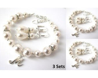 Bridesmaid Gifts Pearl Bracelet Earring Set, Bridesmaid Bracelet Earring SET OF 3, Pearl Bridesmaid Jewelry, Personalized Bridesmaid Gift