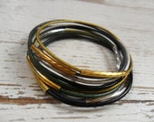 10 leather bangle bracelets with gold and silver plated unique tube beads , stackable bracelet , boho chic , handmade