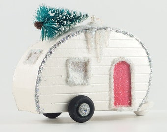 Christmas Village Glitter House Putz Ornament Camper Travel Trailer RV