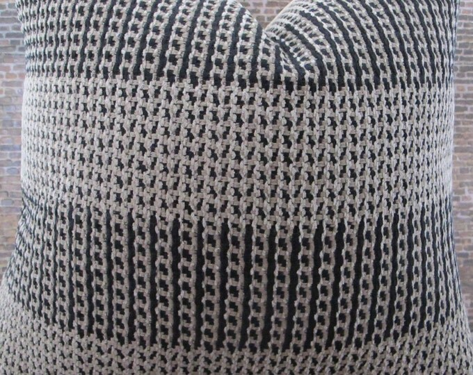 3BM Designer Pillow Cover Lumbar, 16 x 16, 18 x 18, 20 x 20, 22 x 22 - Chenille Zenia Wide Stripe  Black, Tan, Cream