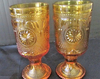 A Pair of American Concord Amber Water Goblets by Brockway Glass Co.
