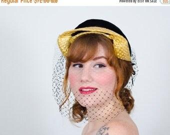 25% OFF SALE / 1950s vintage hat / straw hat / Catalina