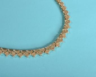 Vintage 1950s Trifari Wedding Necklace - Gold Toned Rhinestones - Bridal Fashions 1960s