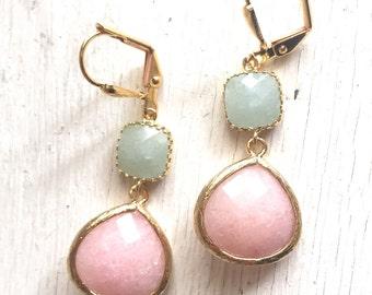 SALE - Peach and Mint Ice Jade Bridesmaids Earrings. Dangle Earrings. Drop Earrings. Bridesmaid Earrings. Bridal. Drop Earrings. Wedding.