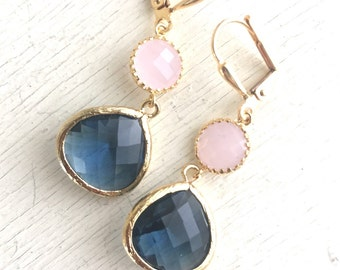 Sapphire Blue and Soft Pink Dangle Earrings in Gold. Bridesmaid Earrings.  Navy Blue Pink Dangle. Drop. Bridemaids Gift.