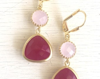 Bridesmaid Earrings with Fuchsia and Pale Pink Jewels. Pink Bridesmaid Jewelry. Bridal Party Gift. Jewelry. Pink Wedding.