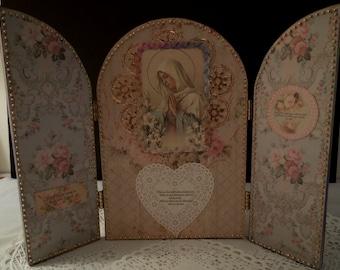 Beaded Madonna and Child Shrine