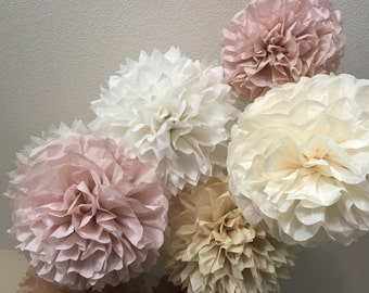 Paper Pom Poms -Set of 10- Your Color Choice -  Vintage Dusty Rose Burlap and lace color Decorations - Barn Wedding decor - Rustic Wedding