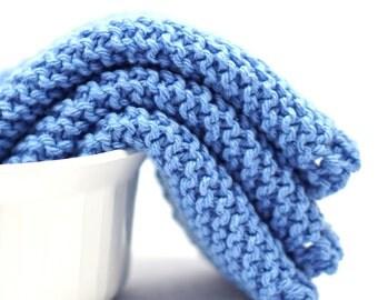 Blue Sky, Cotton Dishcloths, Set of Three, Knitted Cotton, Dish Cloths, Kitchen Cleaning, Wash Cloths, Grandma's Favorite Dish Rag, Wash Rag
