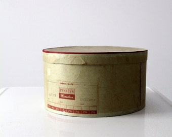 1950s Penney's Marathon hat box, vintage JC Penney storage box