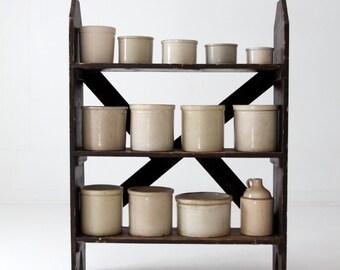 antique primitive shelf, black wood rack