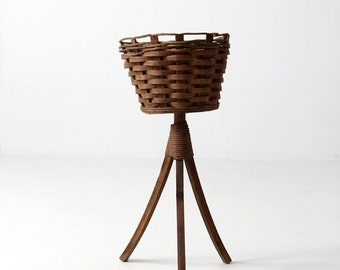 SALE vintage plant stand, woven basket planter