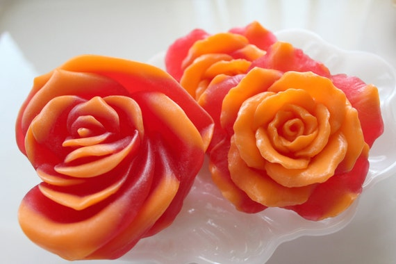 3 ROSE FLOWER SOAPS, Set of 3-A Beautiful Southern Bouquet Gift Set, Handmade, Vegetable Based, Custom Scented