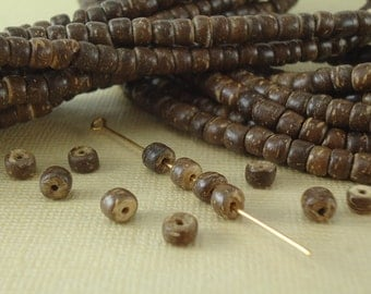 100 Coco Beads 5mm Round tiny little Brown Natural Beads BOHO