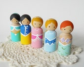 Princess Peg Dolls, Princess, Wooden toy, Cake Topper, Party Favor, Stocking Stuffer