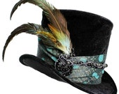 Tall Black Top Hat Onyx Flair Steampunk Gypsy Victorian Gentlemens Cosplay Mens Gothic