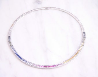 14K White Gold Rainbow Sapphire, Ruby and Diamond Choker Necklace - Appraisal at 11,850.00