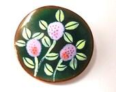 Vintage Enamel Floral Brooch Green lavender on Copper Hand Crafted Impressionist  Spring Garden party