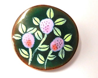 Vintage Enamel Floral Brooch Green lavender on Copper Hand Crafted Impressionist  Spring Garden party