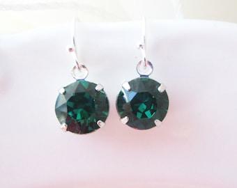 Custom Birthstone Earrings, Emerald Birthstone Earrings, Emerald Earrings,Bridesmaid Earrings, Swarovski Earrings,Green Bridesmaid Jewelry
