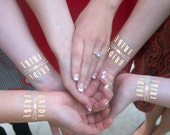 Gold Bride Tribe Tattoo, Metallic Tattoo, Gold Tattoo, 10 Individually Packaged, Temporary Tattoos, Bachelorette Party, Incl. Bride Tattoo