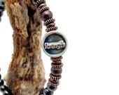 Strength PSALM 46 Bracelet Pure Copper Hematite Magnetic || Super High Power || Love Imagination || Holistic Health || gift card Gift bag