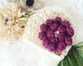 Luxuriously Soft Cream Hand Crocheted Newborn Baby Hat With Flower