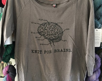 Knit for Brains 3/4 Sleeved Tee