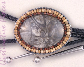 Orthoceras Bolo Tie with Picture Jasper, Mahogany Obsidian & Hematine - Men's Bolo Tie, Women's Slide Necklace, Beaded Embroidery, BO3852050