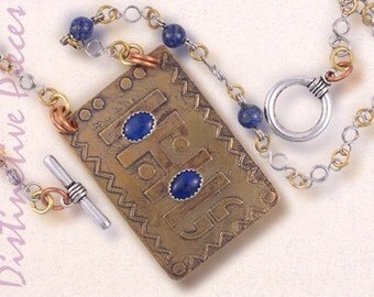 Etched Brass with Lapis Pendant Necklace - OOAK Mixed Metals Etched Jewelry, Lapis Cabochons with Sterling, Antiqued Brass Finish, NE3550005