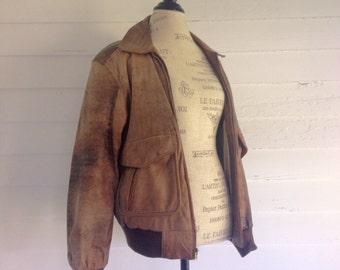 Vintage Distressed Brown BOMBER Jacket